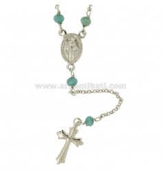 ROSARY NECKLACE WITH ROLE AND 4 STONE SILVER REDUCED TIT 925 CM 45