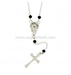 Collar del rosario CON ROLO 'y piedras en plata del rodio TIT 925 CM 45