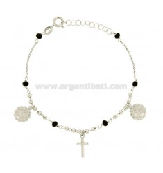 ROSARY BRACELET WITH ANTIHOODS CRYSTALS AND STONES SILVER REDUCED TIT 925 CM 19