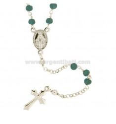 Collar del rosario con piedras en plata del rodio TIT CM 45-50 925