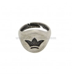 RING 13 MM RING WITH CRUNITOUS SILVER SILVER 925 ‰ ADJUSTABLE MEASUREMENT BY MIGNOLO