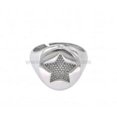 RING RUNDE 13 MM MIT STELLA liniert 925 ‰ Silber rhodiniert Größe verstellbar Mignolo