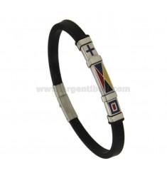 Armband Gummi 'BLACK STEEL MIT WASSER FLAGS 21 CM GLAZED
