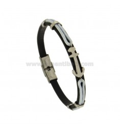 MM 8 WHITE BRACELET AND WHITE ROPE WITH CENTRAL STEEL ANCHOR CM 21