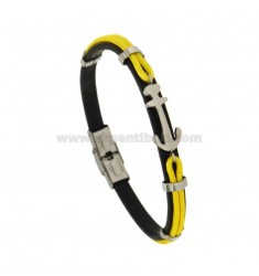 MM 8 HAIRDRESS BRACELET AND YELLOW CORD WITH CENTRAL STEEL ANCHOR CM 21