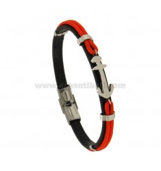BRUSHED BRACELET MM 8 AND RED CORD WITH CENTRAL STEEL ANCHOR CM 21
