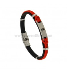 BRUSHED BRACELET MM 8 AND RED ROPE WITH STEEL AND STEEL CENTRAL STEEL CM 21