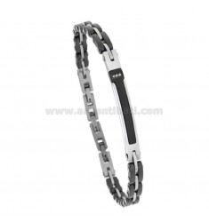 BLACK 7 MM CERAMIC BRACELET WITH STEEL PLATE AND ZIRCONIA CM 21