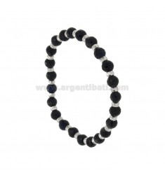 BLACK AGATURAL BRACKET BRACELET MM 6 WITH SILVER BALLS TIT 925