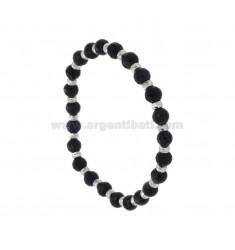 Negro del brazalete del brazalete de ágata ónix facetado 6 MM CON BOLAS TÍTULO DE PLATA 925