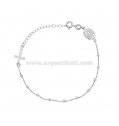 ROSARY BRACELET CABLE WITH 2.5 MM BALLS IN SILVER RHODIUM TIT 925 ‰ CM 17-20