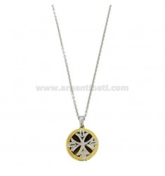 CM 50 FORZATINA NECKLACE WITH CROSS IN CIRCLE MM 18 IN SILVER TRICOLOR TIT 925 ‰