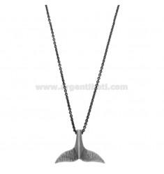 Collar de cable con la ballena COLA colgante de plata BRUNITO TIT 925 ‰ 45 CM