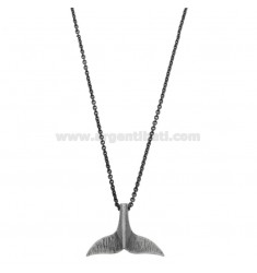 NECKLACE CABLE WITH CODA OF WHALE PENDANT IN SILVER BRUNITO TIT 925 ‰ CM 45