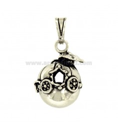 Pendant CIRCLE ANGELS CARROZZA MM 16 IN SILVER BRUNITO TIT 800 ‰