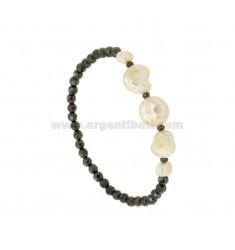 Pulsera brazalete de hematita talladas con las perlas barrocas Y CENTRAL