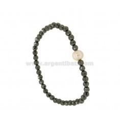 Armband elastische Hämatit facettiert UND CENTRAL PEARL BAROCK