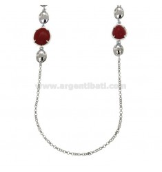 LACCIO ROLO 'WITH ALTERNATED POLISH SASSOLINS AND RED SILVER RED CORAL PASTA TIT 925 CM 80