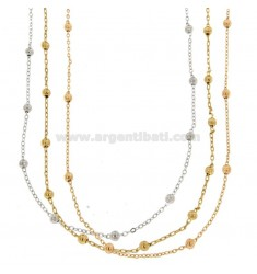 NECKLACE CABLE WITH BALLS MM 4 PCS 3 IN BRONZE TRICOLOR CM 90