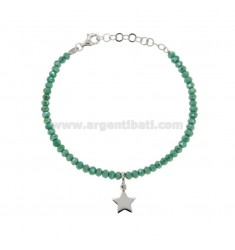 BRACELET WITH WATERPROOF PETROLEUM STONES WASTE GREEN PETROLEUM AND STAINLESS PENDANT SILVER REDUCED TIT 925 ‰ CM 16-19