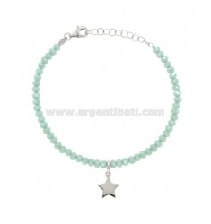 BRACELET WITH WATERPROOF THICKNESS STEEL GREEN TIFFANY AND STAINLESS STEEL SILVER REDUCED TIT 925 ‰ CM 16-19