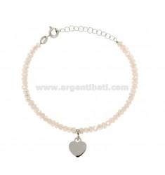 BRACELET WITH WATERPROOF WOODEN WATER HEAVY WATERPROOF SILVER ROSE AND CUORICINO SILVER REDUCED TIT 925 ‰ CM 16-19