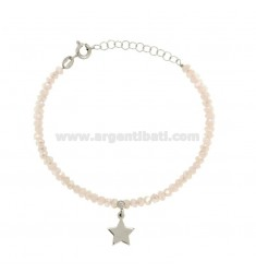 BRACELET WITH WATERPROOF STONES WATERPROOFED ROSE AND STAINLESS STEEL SILVER REDUCED TIT 925 ‰ CM 16-19