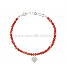 BRACELET WITH WATERPROOF HYDROPHORETICAL STONES FROZENED RED AND CUORICINE PENDANT SILVER REDUCED TIT 925 ‰ CM 16-19
