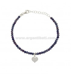 BRACELET WITH WATERPROOF THICKNESS WATERPROOF BLACK AND CUORICINO PENDANT SILVER REDUCED TIT 925 ‰ CM 16-19