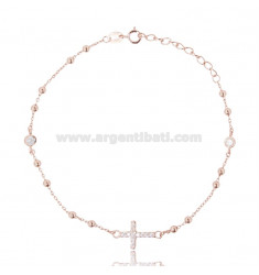 CABLE BRACELET WITH ALTERNATE BALLS AND CROSS WITH ZIRCONIA PAVE IN COPPER SILVER TIT 925 ‰ CM 20-23