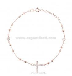 PULSERA CABLE con las bolas y cruz con PAVE ALTERNOS 'de Zirconia de cobre de plata TIT 925 ‰ CM 20-23
