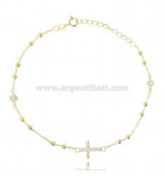 CABLE BRACELET WITH ALTERNATE BALLS AND CROSS WITH PAVE 'OF ZIRCONIA IN SILVER GOLDEN TIT 925 ‰ CM 20-23