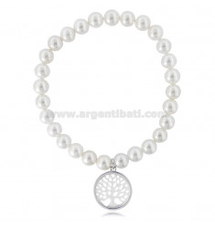 ELASTIC BRACELET WITH PEARLS MM 7 WITH TREE OF LIFE PENDANT IN MOTHER OF PEARL AND RHODIUM-PLATED SILVER TIT 925 ‰