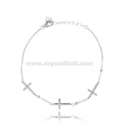 CABLE BRACELET WITH 3 ALTERNATE CROSSES WITH ZIRCONIA PAVE IN RHODIUM-PLATED SILVER TIT 925 ‰ CM 17-20