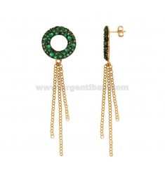 PENDENT EARRINGS WITH CIRCULAR SILVER PENDANT ROLE AND RUTENY TIT 925 ‰ AND GREEN ZIRCONI