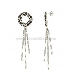 PENDENT EARRINGS WITH CIRCULAR ROLE SILVER RODIATO AND RUTENIO TIT 925 ‰ AND WHITE ZIRCONES