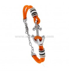 ORANGE ROUND BRACELET WITH STILL AND NAUTICAL STEEL FLAGS ENAMELLED WITH BRASS DOT