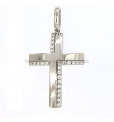 PICON CROSS MM 30X20 EN PLATA REDUCIDO TIT 925 ‰ Y ZIRCONES BLANCOS
