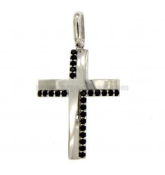 PICON CROSS MM 30X20 PLATA REDUCIDO TIT 925 ‰ Y NEGRO ZIRCONI