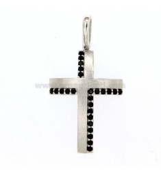 PINK CROSS MM 30X20 SILVER REDUCIDO SATIN TIT 925 ‰ Y ZIRCONI NERI