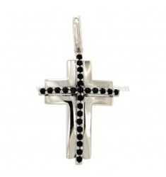 PICON CROSS MM 30X20 SILVER REDUCED TIT 925 ‰ AND BLACK ZIRCONI