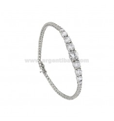 BRACCIALE TENNIS MM 2 IN ARGENTO RODIATO 925‰ CON ZIRCONI BIANCHI E 9 CENTRALI DEGRADE CM 18