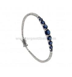 2 MM TENIS pulsera en plata 925 RHODIUM ZIRCONIA ‰ con blanco y BLUE 9 CENTRAL DEGRADE CM 18