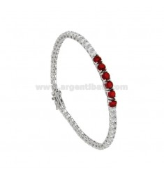 TENNIS BRACELET MM 3 SILVER REDUCED 925 ‰ WITH WHITE ZIRCONES AND 5 RED CENTERS CM 18