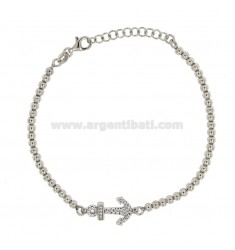 BRACELET WITH MM 3 BALLS AND CENTRAL SILVER REDUCED TIT 925 ‰ AND WHITE ZIRCONS CM 18-21