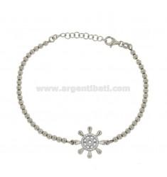 Armband mit BALL MM 3 UND STEUER-ZENTRAL Silber rhodiniert 925 ‰ TIT und Zirkoniumdioxid WHITE CM 18-21