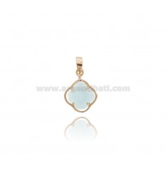 PINK PICCOLO IN STONE STYLE COLOR CELESTE 2 AND AG PLATED GOLD ROSE TIT 925
