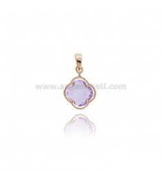 SMALL FLOWER PENDANT IN HYDROTHERMAL STONE LILAC COLOR 29 AND ROSE GOLD PLATED AG TIT 925
