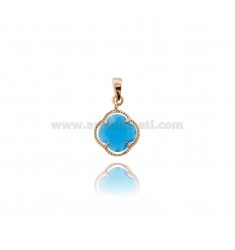 SMALL FLOWER PENDANT IN HYDROTHERMAL STONE COLOR TURQUOISE 65 AND ROSE GOLD PLATED AG TIT 925