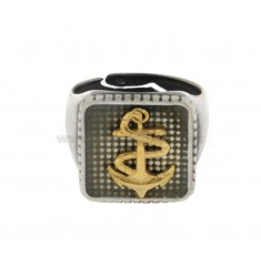 SQUARE RING MM 17X17 WITH SILVER BRUSHED AND PLATED GOLD TIT 925 ‰ ADJUSTABLE MEASURE FROM 18